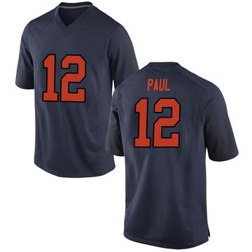 Men's Brendan Paul Syracuse Orange Nike Game Orange Navy Football College Jersey