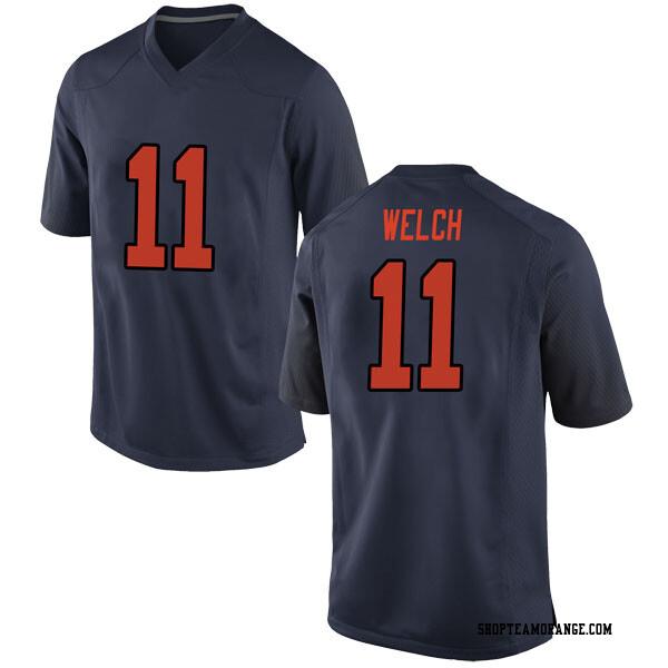 Men's Clayton Welch Syracuse Orange Nike Game Orange Navy Football College Jersey