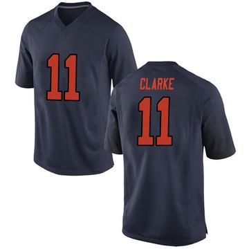 Men's Devon Clarke Syracuse Orange Nike Game Orange Navy Football College Jersey