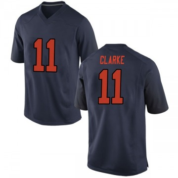 Men's Devon Clarke Syracuse Orange Nike Replica Orange Navy Football College Jersey