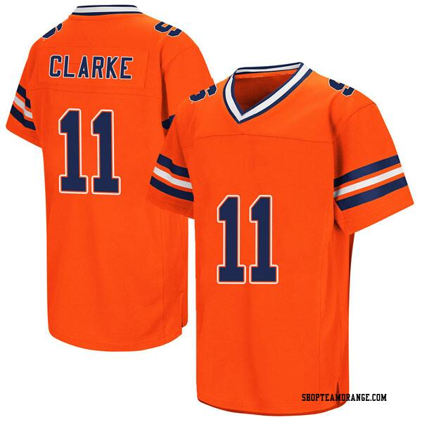 Men's Devon Clarke Syracuse Orange Replica Orange Colosseum Football College Jersey