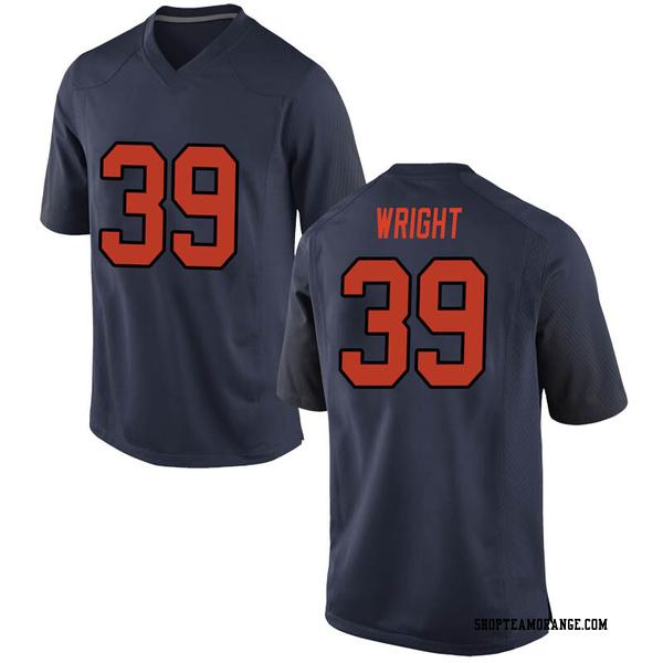 Men's Jake Wright Syracuse Orange Nike Game Orange Navy Football College Jersey