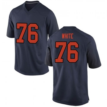 Men's Qadir White Syracuse Orange Nike Game Orange Navy Football College Jersey