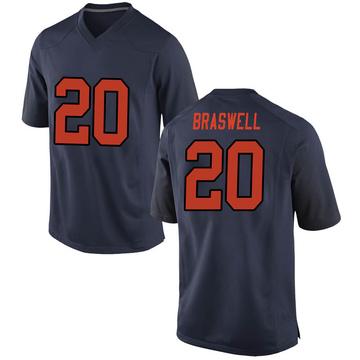 Men's Robert Braswell Syracuse Orange Nike Game Orange Navy Football College Jersey
