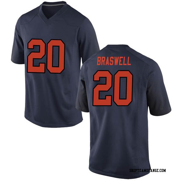 Men's Robert Braswell Syracuse Orange Nike Replica Orange Navy Football College Jersey