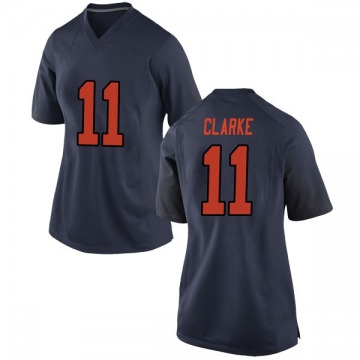 Women's Devon Clarke Syracuse Orange Nike Game Orange Navy Football College Jersey