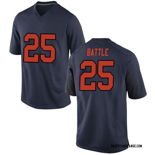 Youth Tyus Battle Syracuse Orange Nike Replica Orange Navy Football College Jersey